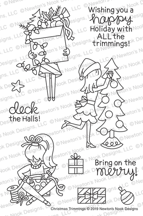 Newton's Nook Designs CHRISTMAS TRIMMINGS Clear Stamps NN1910S01* zoom image