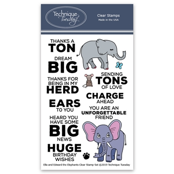 Technique Tuesday ELLA AND EDWARD THE ELEPHANTS Clear Stamps 02812