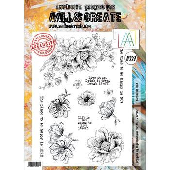 AALL & Create BLOOMING FIELD 229 A4 Clear Stamps aal00229