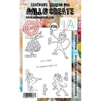 AALL & Create MONKEY BUSINESS 246 A6 Clear Stamps aal00246
