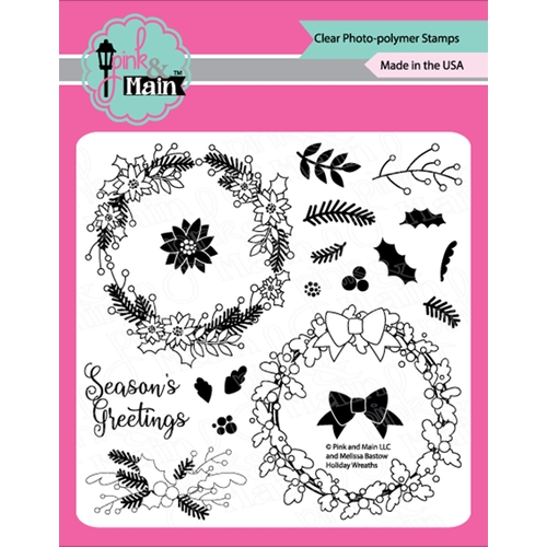 Pink and Main HOLIDAY WREATHS Clear Stamps PM0369* Preview Image