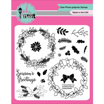 Pink and Main HOLIDAY WREATHS Clear Stamps PM0369