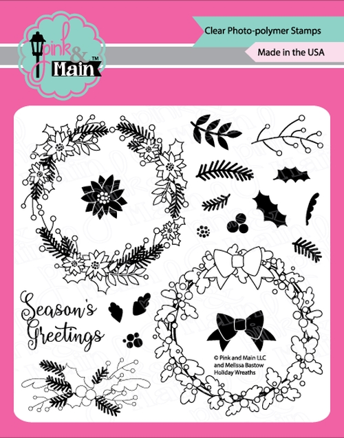 Pink and Main HOLIDAY WREATHS Clear Stamps PM0369* zoom image