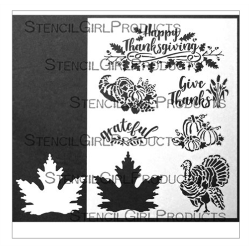 StencilGirl THANKSGIVING WITH LEAF 9x12 Stencil l744* Preview Image
