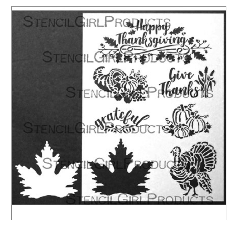 StencilGirl THANKSGIVING WITH LEAF 9x12 Stencil l744* zoom image