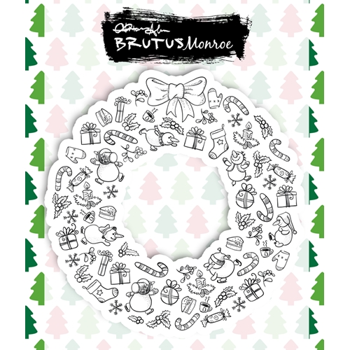 Brutus Monroe HOLIDAY WREATH Clear Stamps bru1029 Preview Image