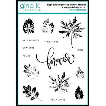 Gina K Designs LAYERED LEAF PRINTS Clear Stamps 0657