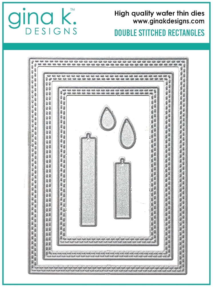 Gina K Designs DOUBLE STITCHED RECTANGLE Die Set 0602 zoom image