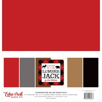 Echo Park LITTLE LUMBERJACK 12 x 12 Double Sided Solids Paper Pack ll195015