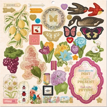 BoBunny TIME AND PLACE 12 x 12 Chipboard Stickers 7310970