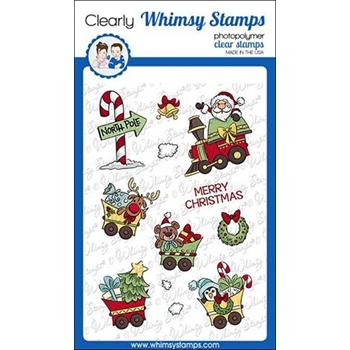 Whimsy Stamps SANTA'S TRAIN Clear Stamps KHB146