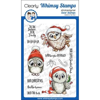 Whimsy Stamps HAPPY OWLIDAYS TOO Clear Stamps C1349