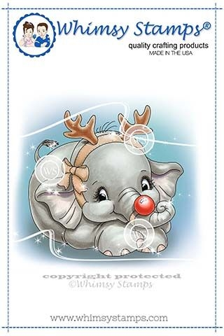 Whimsy Stamps ELLIE THE SPECIAL REINDEER  Rubber Cling Stamp C1348 zoom image