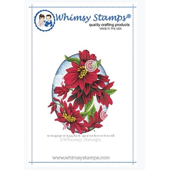 Whimsy Stamps FLORAL OVAL Rubber Cling Stamp DA1129