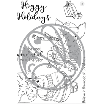 The Rabbit Hole Designs HOGGY HOLIDAYS Clear Stamps TRH-42