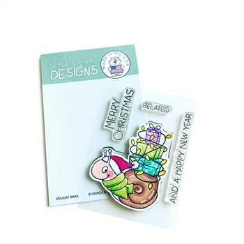 Gerda Steiner Designs HOLIDAY SNAIL Clear Stamp Set gsd708