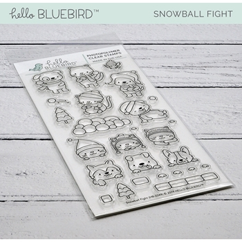 Hello Bluebird SNOWBALL FIGHT Clear Stamps hb2249