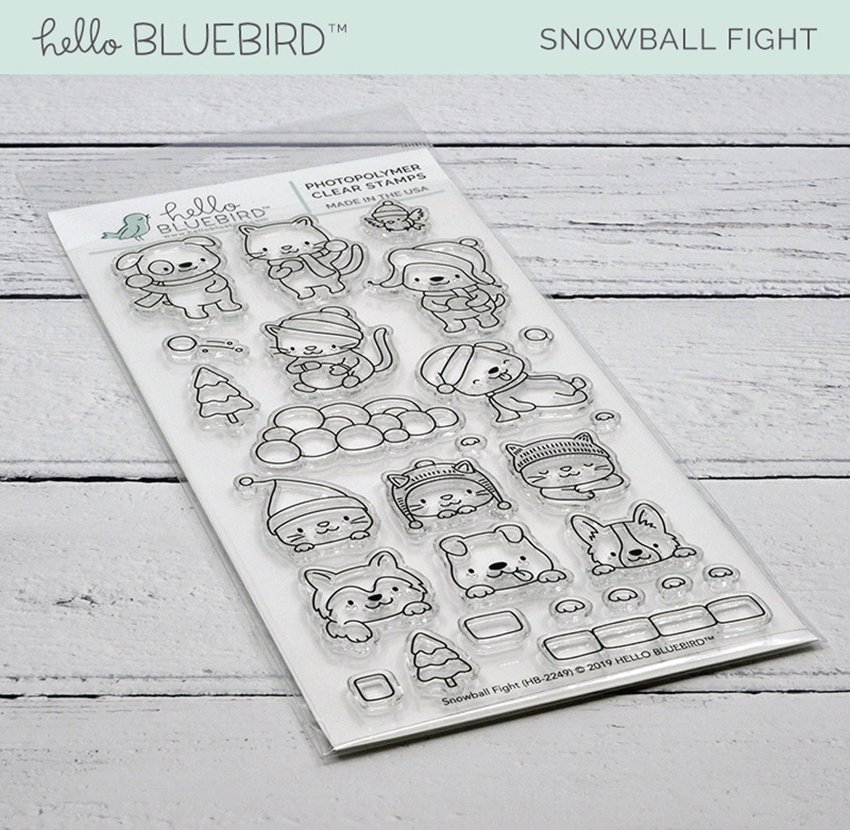 Hello Bluebird SNOWBALL FIGHT Clear Stamps hb2249  zoom image