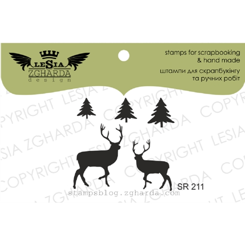 Lesia Zgharda DEER AND CHRISTMAS TREES Clear Stamps sr211 Preview Image