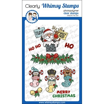 Whimsy Stamps SANTA AND STOCKINGS Clear Stamps KHB148