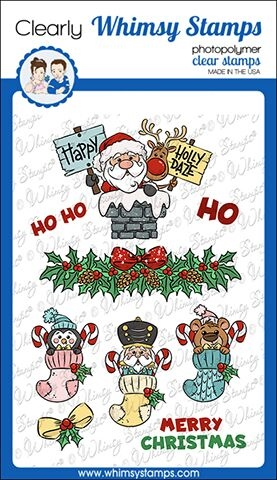 Whimsy Stamps SANTA AND STOCKINGS Clear Stamps KHB148 zoom image