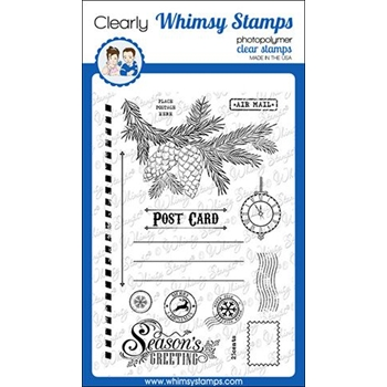 Whimsy Stamps CHRISTMAS POSTCARD Clear Stamps CWSD290
