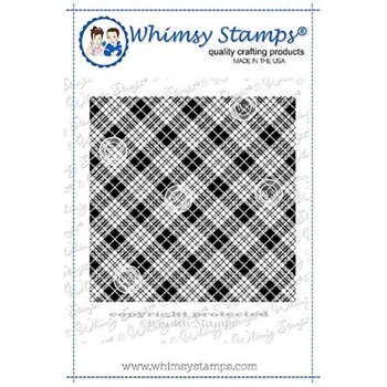 Whimsy Stamps TARTAN Background Cling Stamp DDB0037