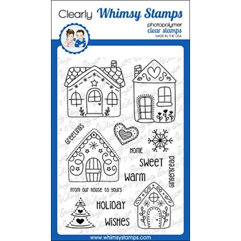 Whimsy Stamps GINGERBREAD GREETINGS Clear Stamps CWSD294