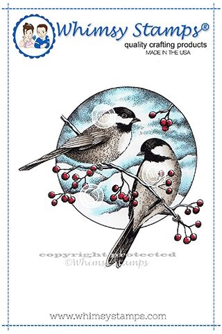 Whimsy Stamps CHICKADEES AND BERRIES Rubber Cling Stamp DA1130 Preview Image