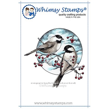 Whimsy Stamps CHICKADEES AND BERRIES Rubber Cling Stamp DA1130