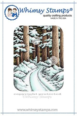 Whimsy Stamps WINTER WOODS Rubber Cling Stamp DA1131 zoom image