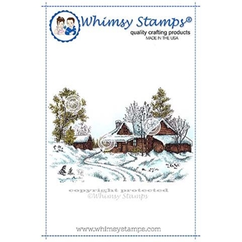 Whimsy Stamps WINTRY CABIN Rubber Cling Stamp DA1132