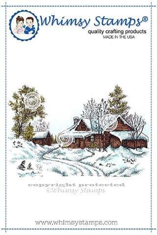 Whimsy Stamps WINTRY CABIN Rubber Cling Stamp DA1132 zoom image