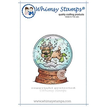 Whimsy Stamps SCUBA DEER SNOW GLOBE Rubber Cling Stamp DP1030