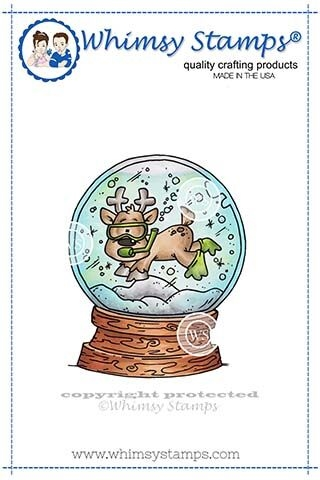 Whimsy Stamps SCUBA DEER SNOW GLOBE Rubber Cling Stamp DP1030 zoom image
