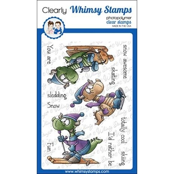 Whimsy Stamps WINTER SPORTS DRAGONS Clear Stamps DP1031