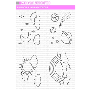 Clearly Besotted BALLOON BUNCH BACKDROPS Clear Stamps