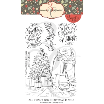 Colorado Craft Company Lovely Legs MOMMY KISSING SANTA Clear Stamps LL276*