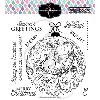 Colorado Craft Company Big and Bold HOLIDAY ORNAMENT Clear Stamps BB273