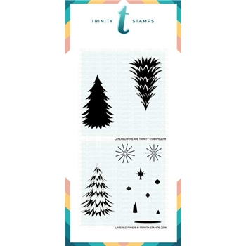 Trinity Stamps LAYERED PINE 6 x 6 Stencil Set of 2 tss-004
