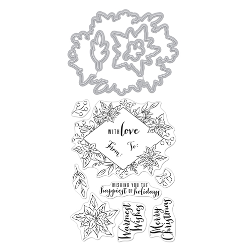 Hero Arts Stamp and Cuts DECORATIVE POINSETTIA FRAME Set DC272* Preview Image