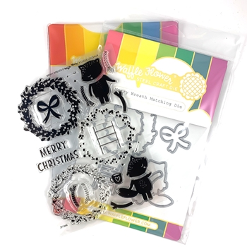 Waffle Flower MERRY WREATH Clear Stamp and Die Combo WFC284