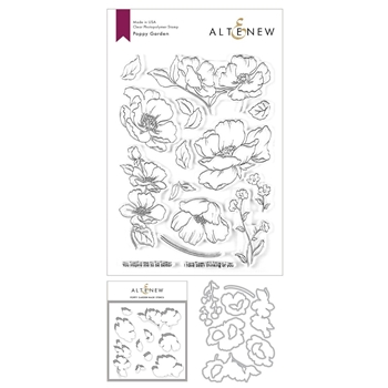 Altenew POPPY GARDEN Stamp, Die and Masked Stencil Bundle ALT3625