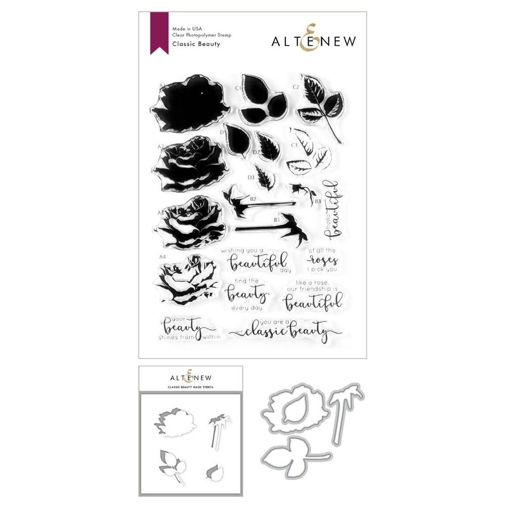 Altenew CLASSIC BEAUTY Stamp, Die and Masked Stencil Bundle ALT3608 zoom image