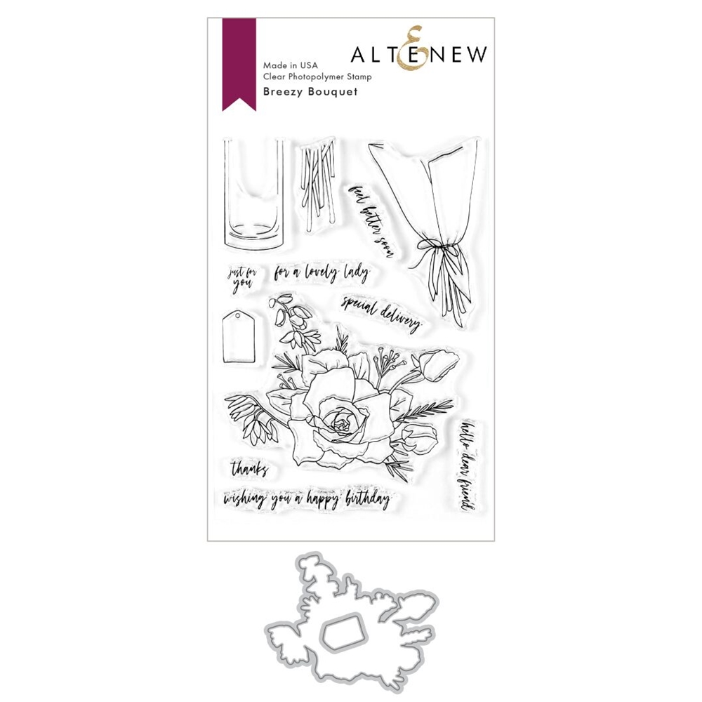 Altenew BREEZY BOUQUET Clear Stamp and Die Bundle ALT3603 zoom image