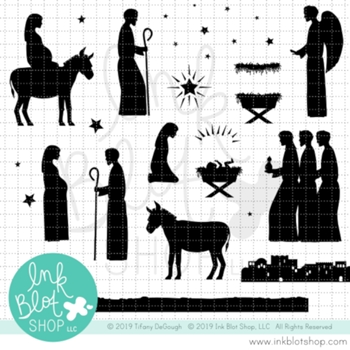 Ink Blot Shop Clear Stamp Set NATIVITY SILHOUETTES inbl084