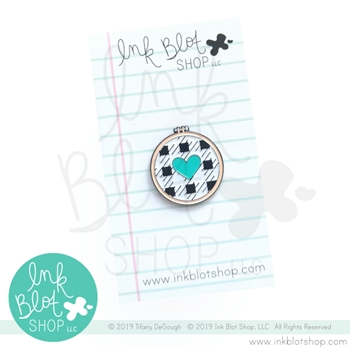 Ink Blot Shop Enamel Pin EMBROIDERY HOOP WITH HEART ibpn006