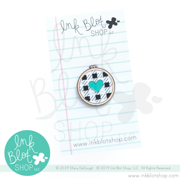 Ink Blot Shop Enamel Pin EMBROIDERY HOOP WITH HEART ibpn006 zoom image