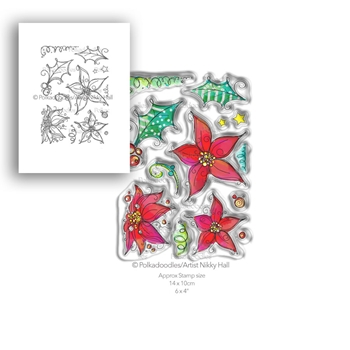 Polkadoodles PERFECT POINSETTIAS Clear Stamp Set pd7988