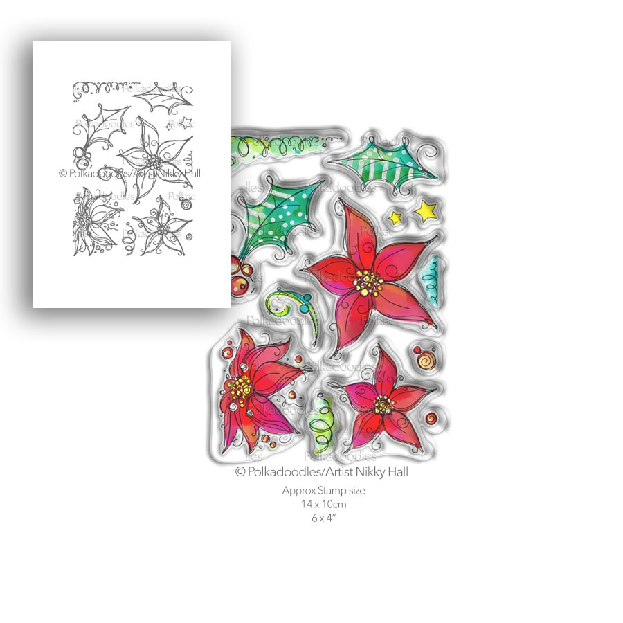 Polkadoodles PERFECT POINSETTIAS Clear Stamp Set pd7988 zoom image